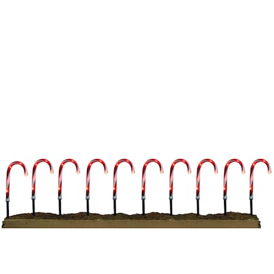 10 Marker White Candy Cane Christmas Pathway Markers