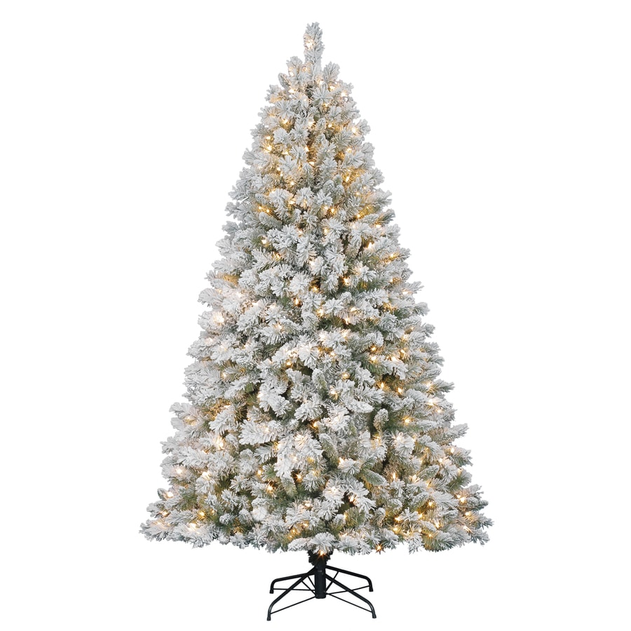 Shop Holiday Living 7-ft Pre-Lit Fir Flocked Artificial Christmas ...
