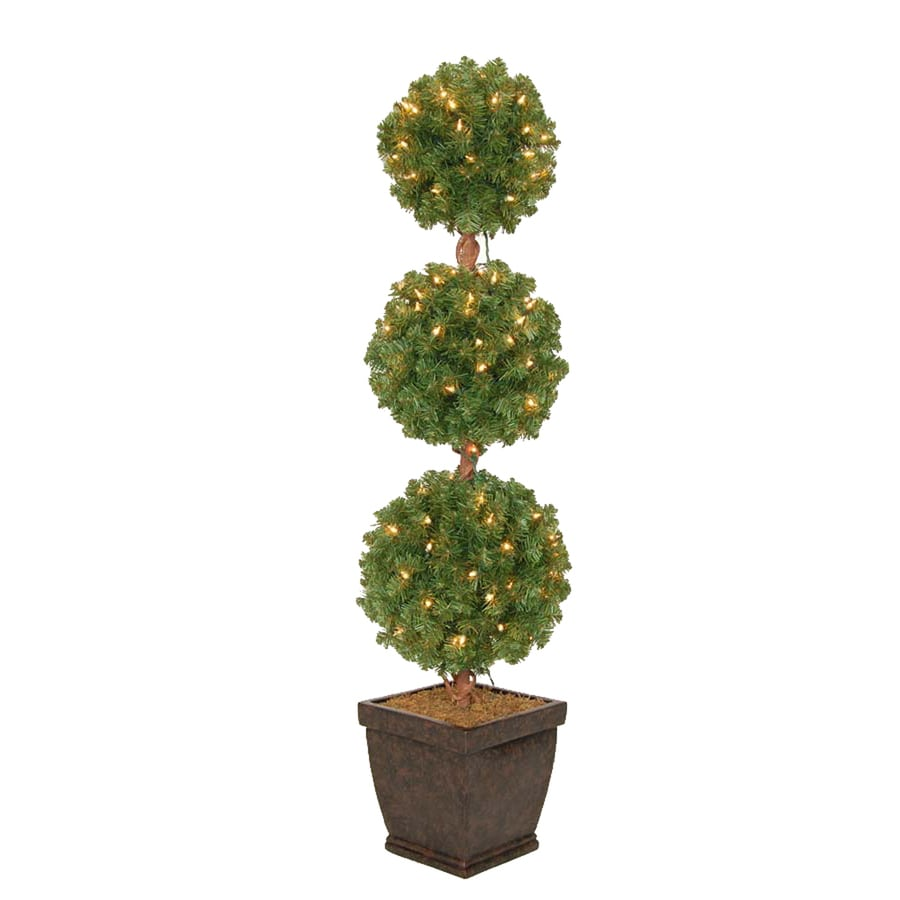 Holiday Living 4-ft Pre-Lit Triple Ball Topiary Artificial ...