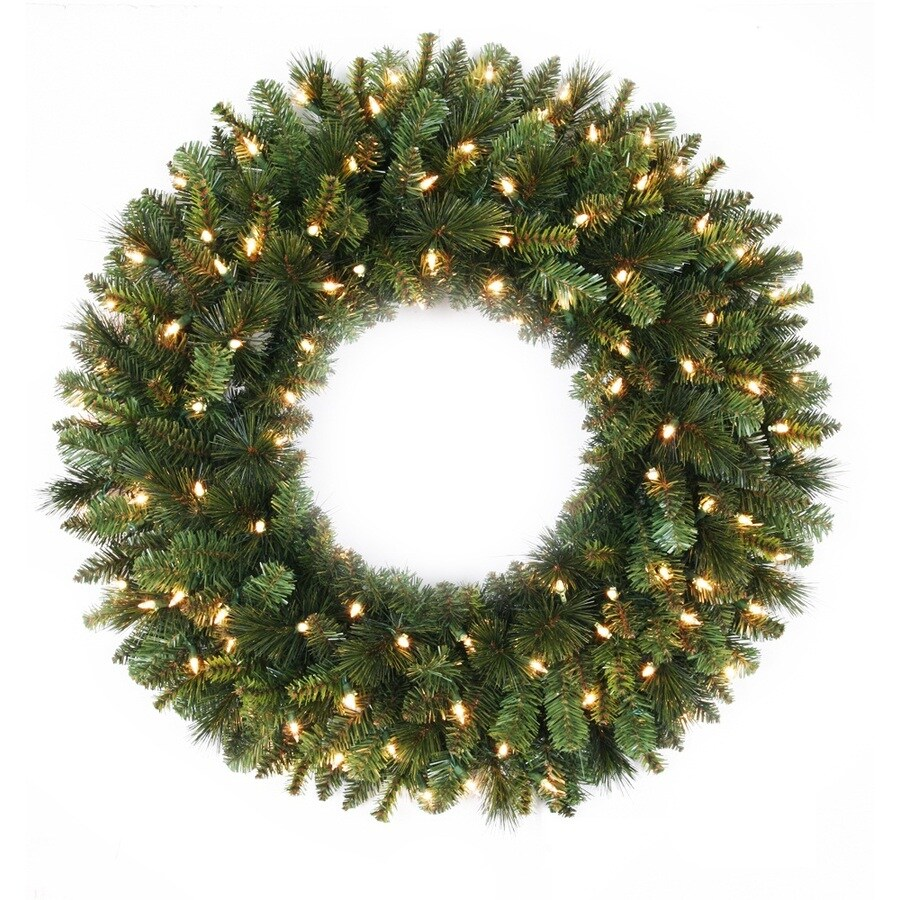 Holiday Living 30-in Pre-Lit Indoor/Outdoor Plug-In Green Spruce Artificial Christmas Wreath with White Clear Incandescent Lights