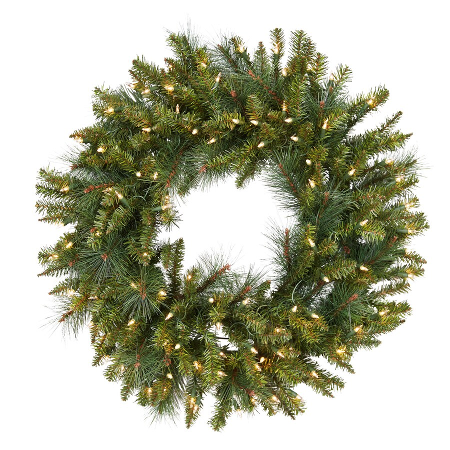 Holiday Living 30-in Pre-Lit Spruce Indoor/Outdoor Artificial Christmas Wreath with White Incandescent Lights
