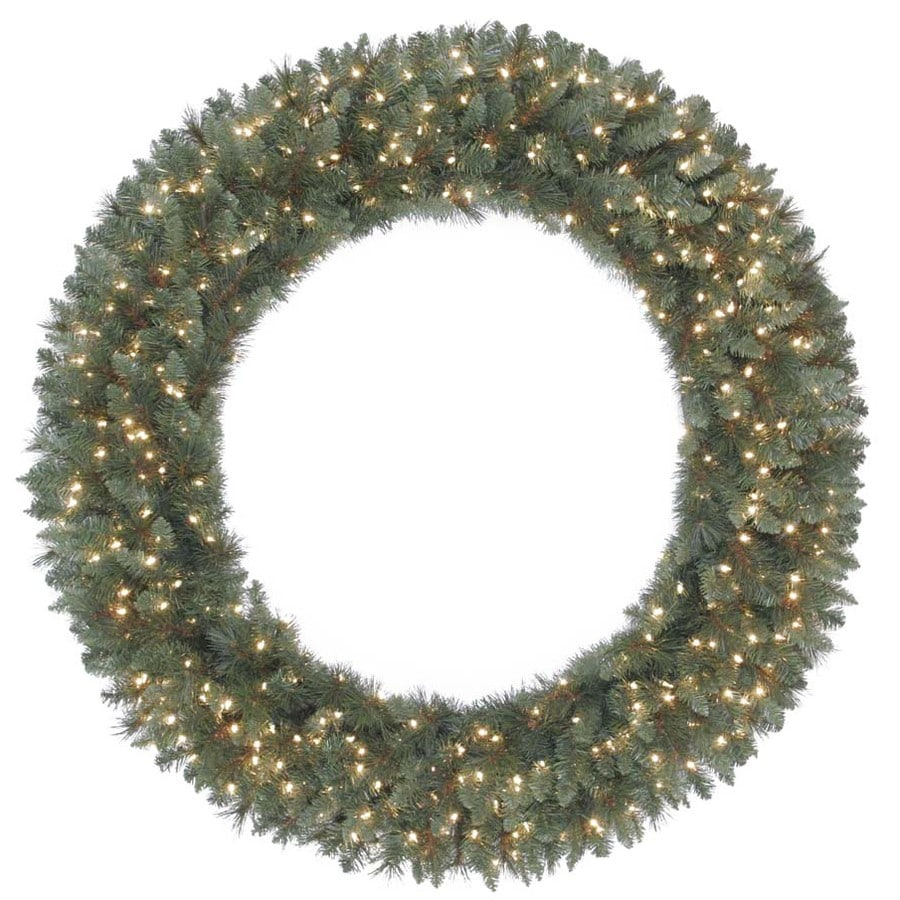 Holiday Living 60-in Pre-Lit Scottsdale Pine Indoor/Outdoor Artificial Christmas Wreath with White Incandescent Lights