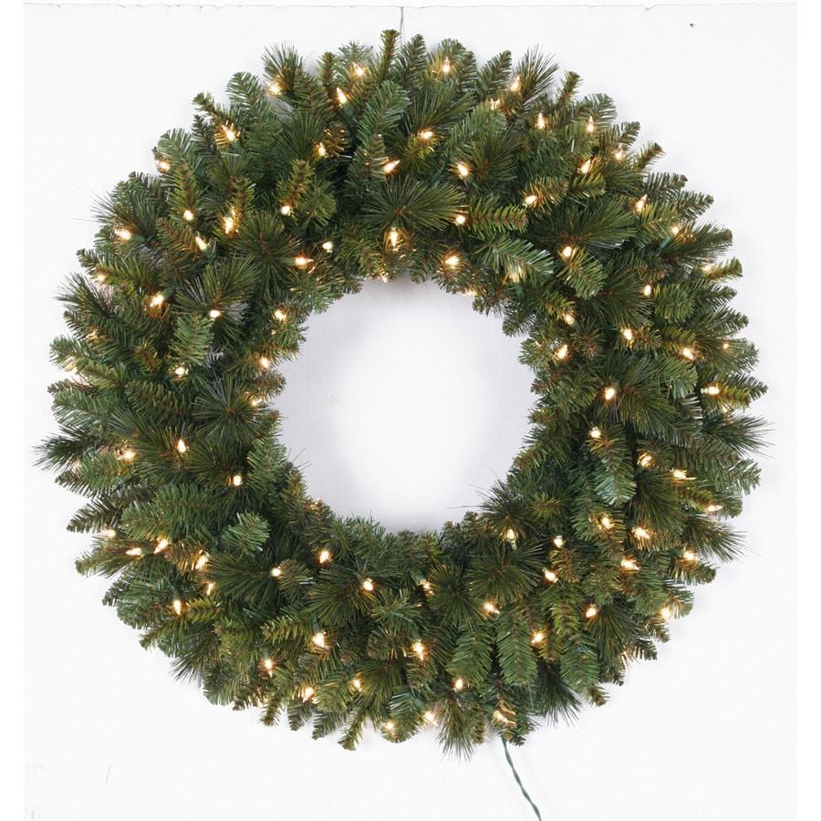 pre lit indoor outdoor plug in green pine artificial christmas wreath. Black Bedroom Furniture Sets. Home Design Ideas
