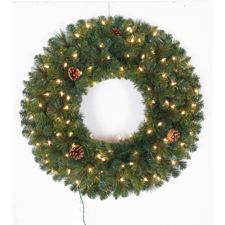 Holiday Living 30-in Pre-Lit Indoor/Outdoor Plug-In Green Pine Artificial Christmas Wreath with White Clear Incandescent Lights