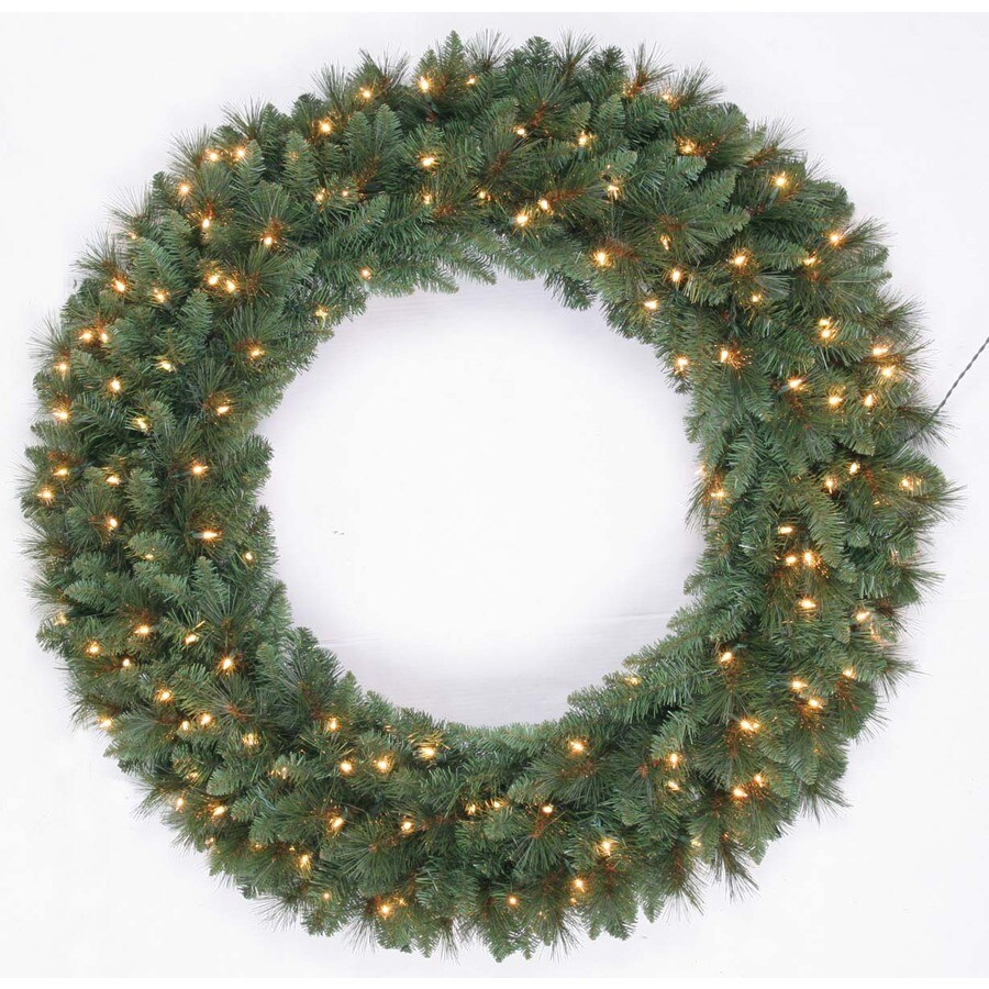 Holiday Living 48-in Pre-Lit Indoor/Outdoor Plug-In Green Scottsdale Pine Artificial Christmas Wreath with White Clear Incandescent Lights