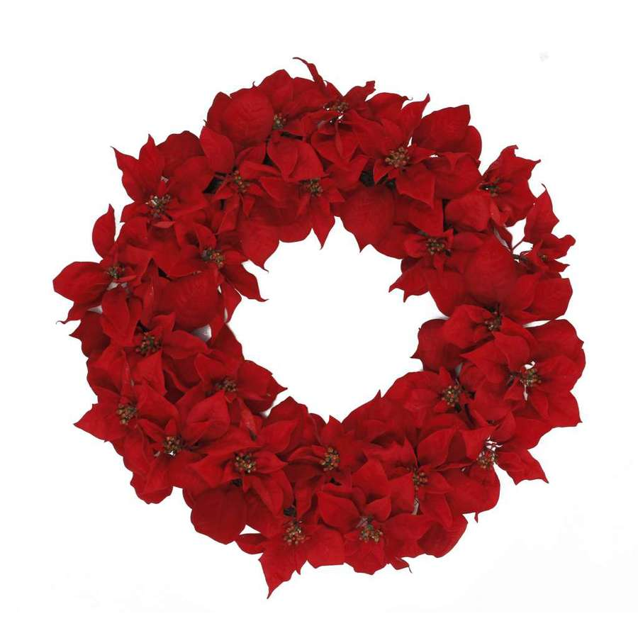 Holiday Living 30-in Un-Lit Red Poinsettia Artificial Christmas Wreath