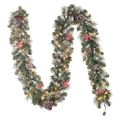 Artificial Christmas Garland.9 5 In W X 9 Ft L Pre Lit Artificial Christmas Garland With White Led Lights