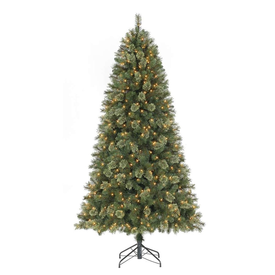 Holiday Living 7.5-ft Pre-Lit York Pine Artificial Christmas Tree with White Clear Incandescent Lights