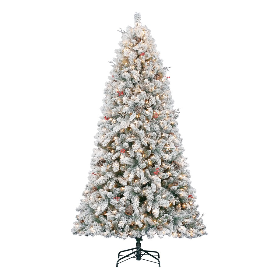 Holiday Living 7.5-ft Pre-Lit Preston Pine Flocked Artificial Christmas Tree with White Clear Incandescent Lights