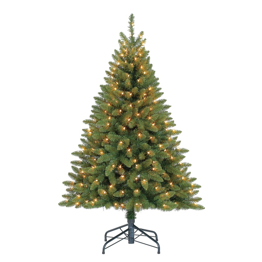 Holiday Living 4.5-ft Pre-lit Bristen Pine Artificial Christmas Tree with 200 Constant Clear White Incandescent Lights