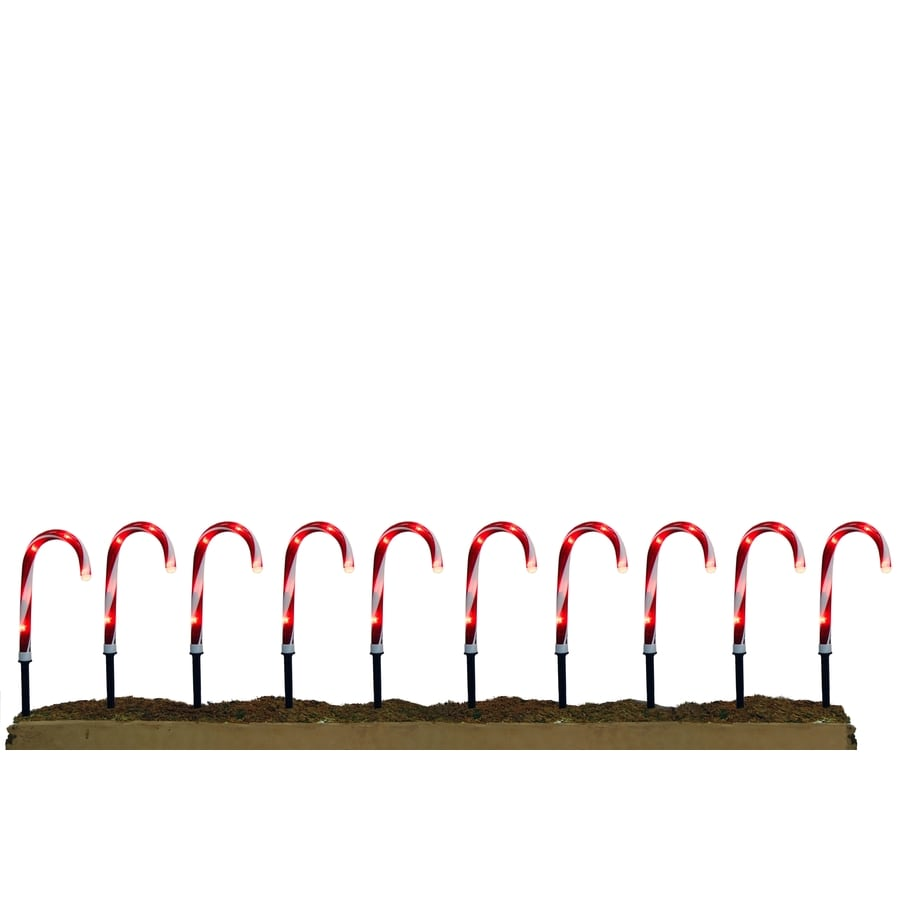Holiday Living 10-Marker White Incandescent Electrical Outlet Candy Cane Christmas Pathway Markers