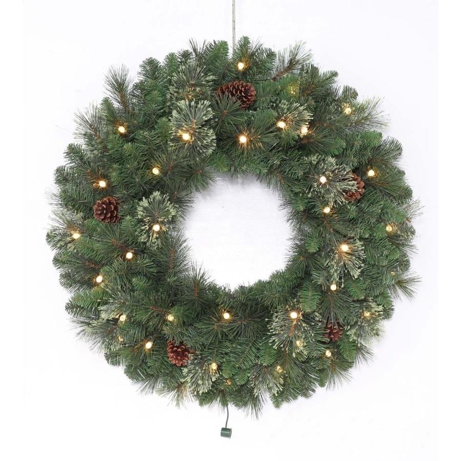 holiday living 30 in pre lit indooroutdoor battery operated green leland - Pre Lit Christmas Wreaths Battery Operated