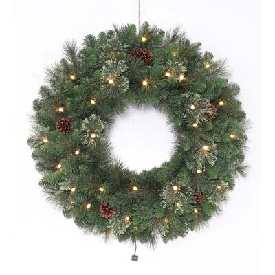 30 In Pre Lit Indoor Outdoor Battery Operated Green Leland Artificial Christmas Wreath With White Warm Led Lights