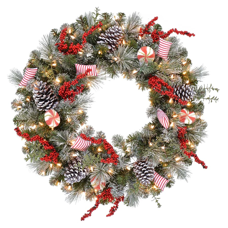Holiday Living 30-in Pre-lit Indoor Electrical Outlet Green Pine Artificial Christmas Wreath with White Clear Incandescent Lights