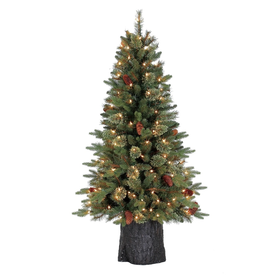 Holiday Living 4.5-ft Pre-lit Hayden Pine Artificial Christmas Tree with 150 Constant Clear White Incandescent Lights