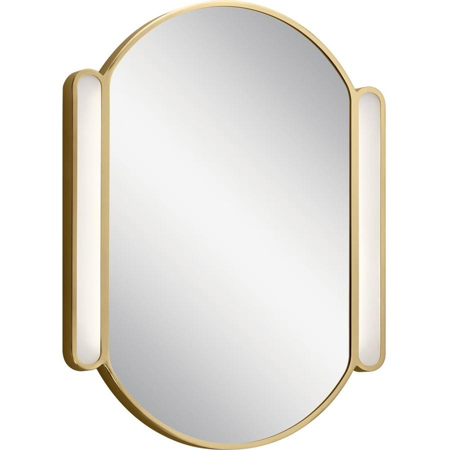 Elan Phaelan 23 25 In Champagne Gold Oval Lighted Led Bathroom Mirror In The Bathroom Mirrors Department At Lowes Com