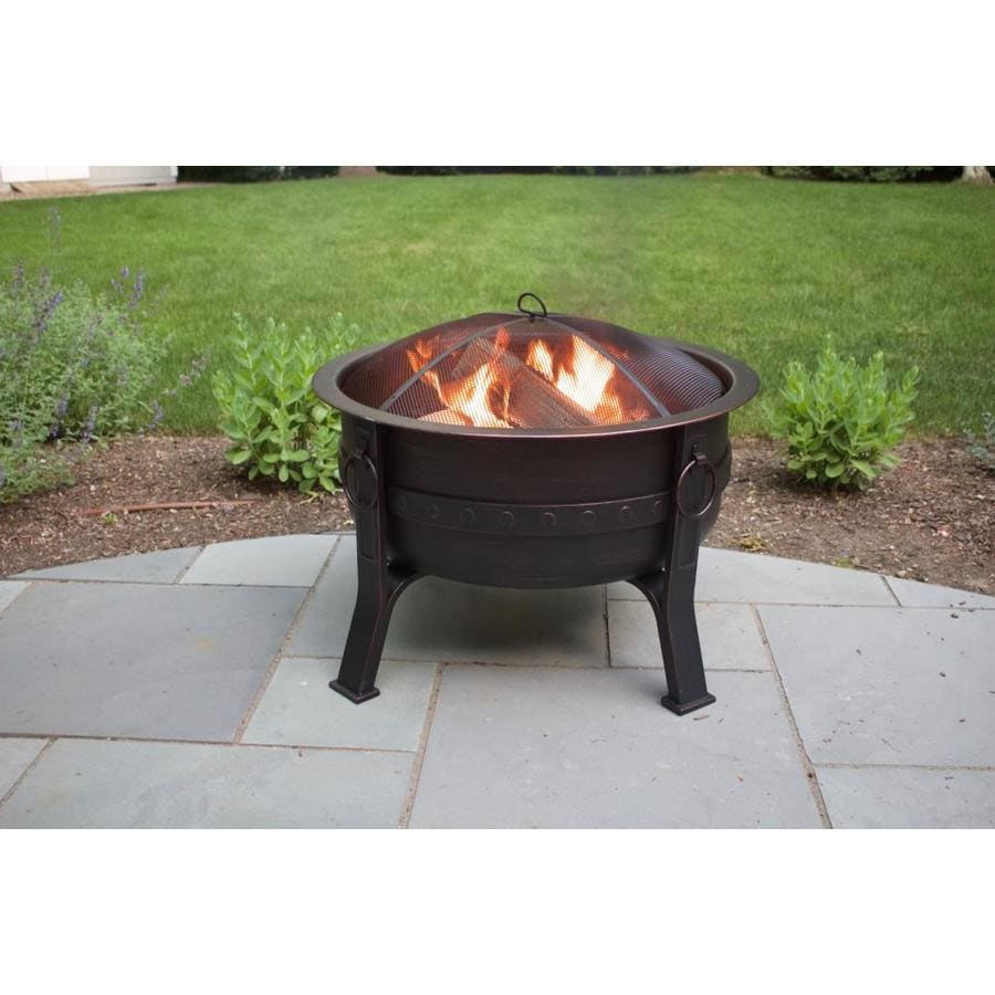 Global Outdoors 32 In W Brushed Bronze Steel Wood Burning Fire Pit In The Wood Burning Fire Pits Department At Lowes Com