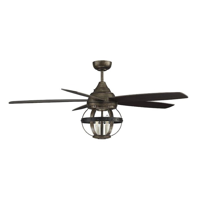 52 in reclaimed wood indoor outdoor ceiling fan with light and remote 5 blade