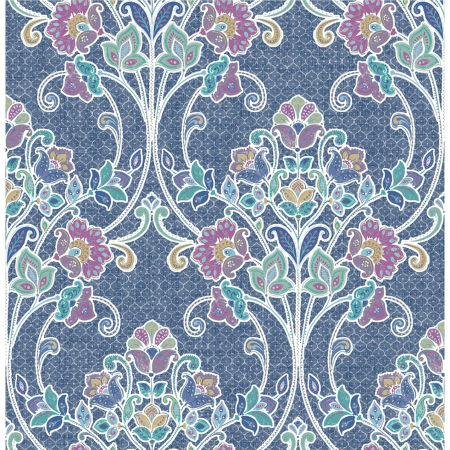Brewster Wallcovering Kismet Indigo Non-Woven Damask Wallpaper