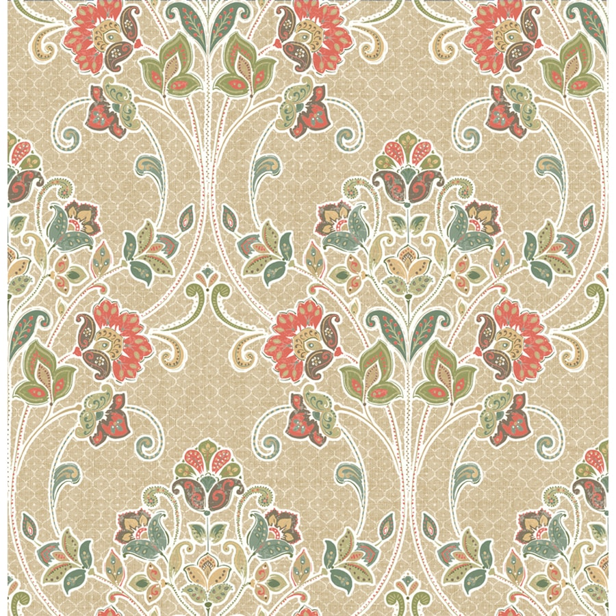 Brewster Wallcovering Kismet Coral Non-Woven Damask Wallpaper