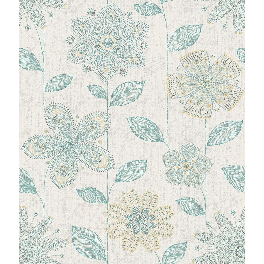 Brewster Wallcovering Kismet Teal Non-Woven Floral Wallpaper