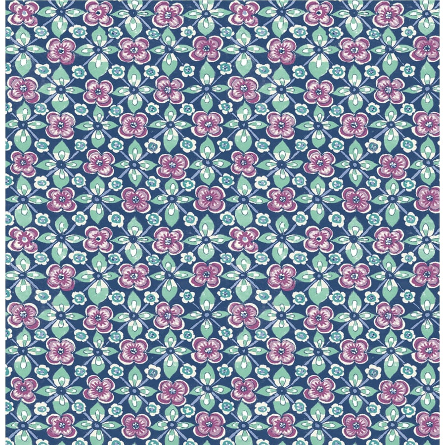 Brewster Wallcovering Indigo Paper Floral Wallpaper
