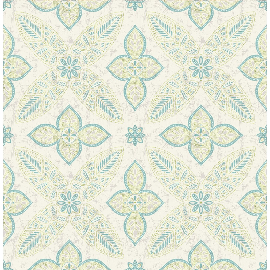 Brewster Wallcovering Turquoise Paper Floral Wallpaper