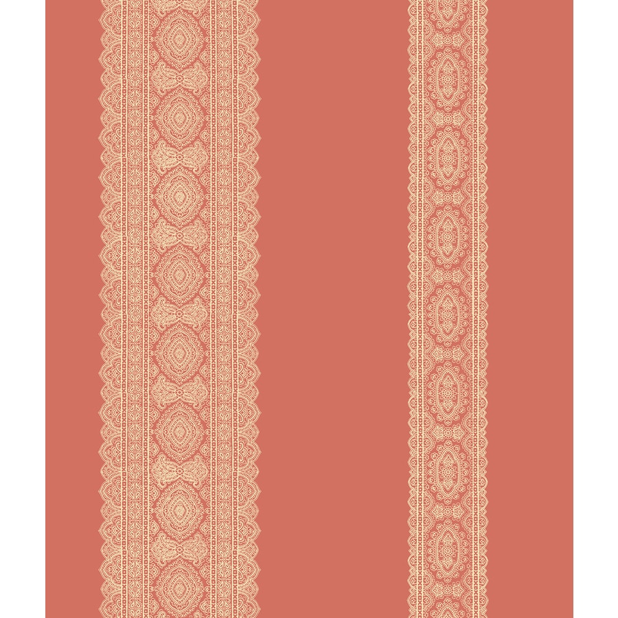 Brewster Wallcovering Kismet 56-sq ft Coral Non-Woven Stripes  Wallpaper