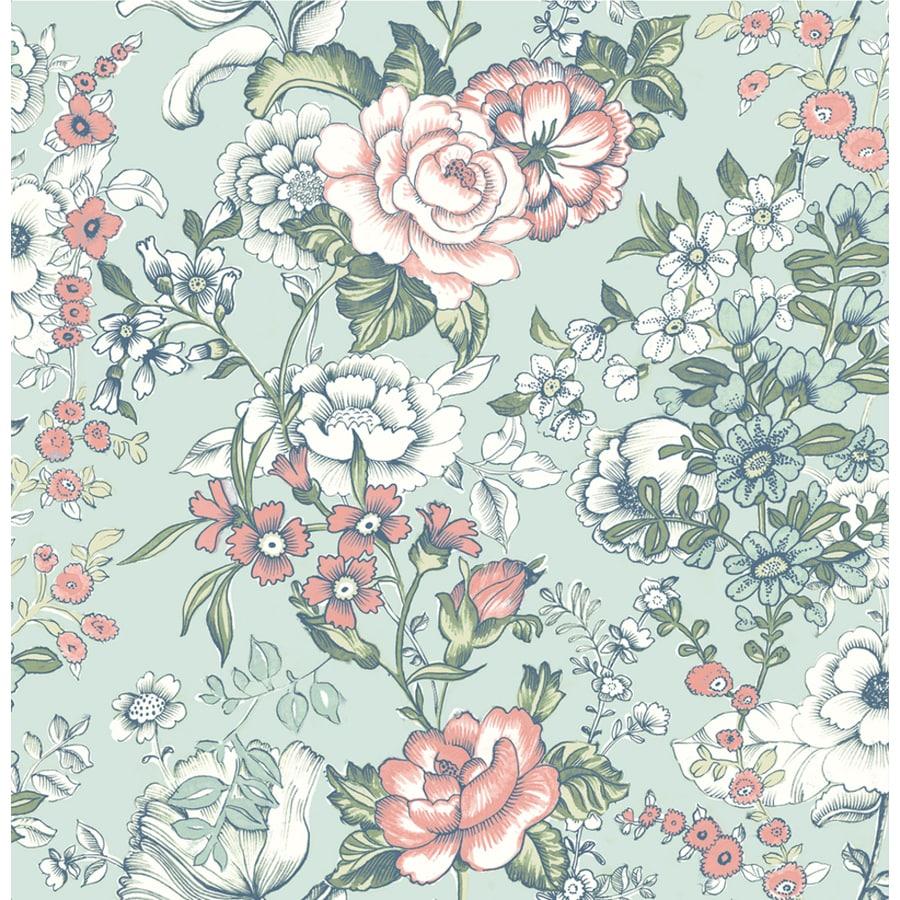 Brewster Wallcovering Kismet 56-sq ft Aqua Non-Woven Floral  Wallpaper