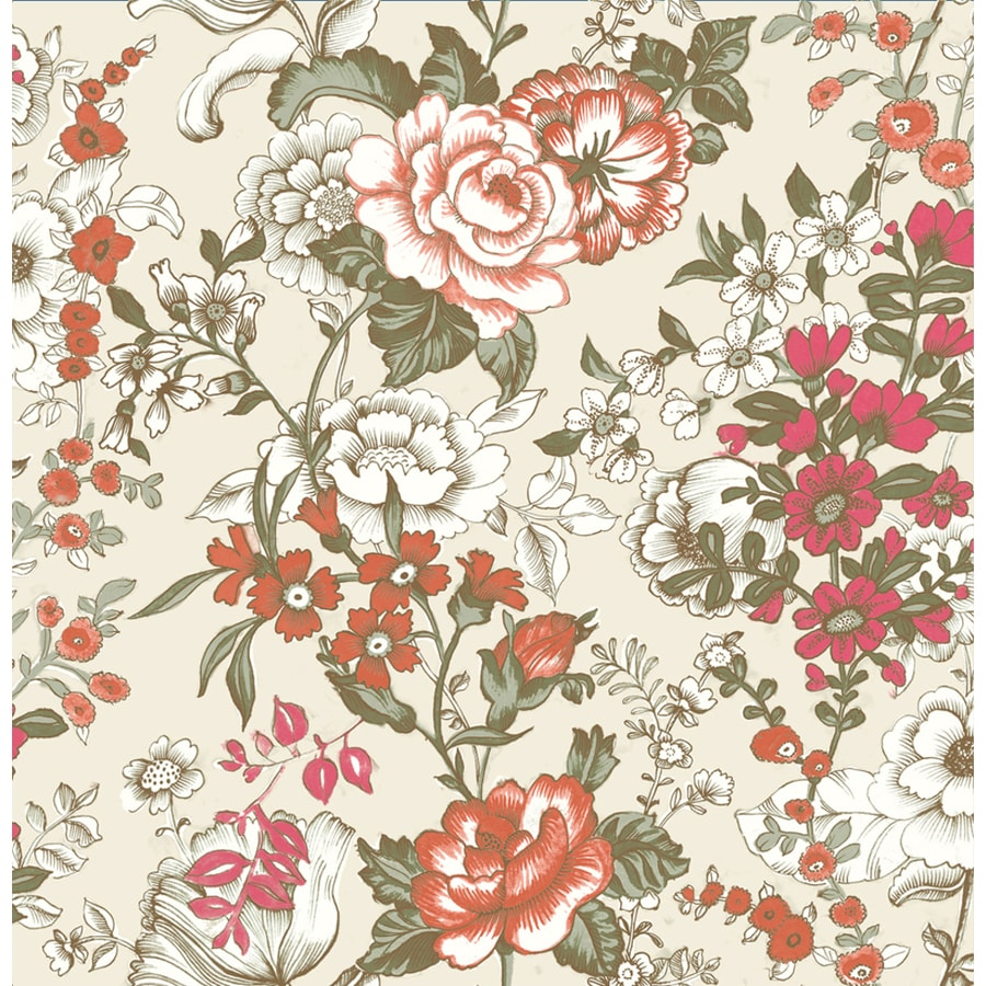 Brewster Wallcovering Kismet Red Non-Woven Floral Wallpaper