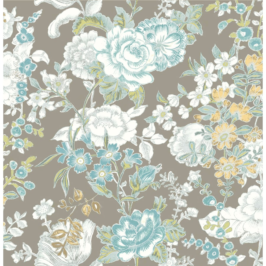 Brewster Wallcovering Grey Paper Floral Wallpaper