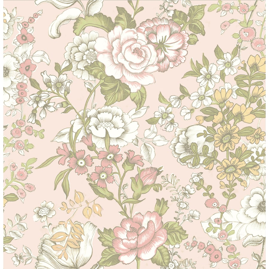 Brewster Wallcovering Kismet 56-sq ft Pink Non-Woven Floral  Wallpaper