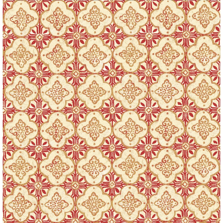 Brewster Wallcovering Red Paper Geometric Wallpaper