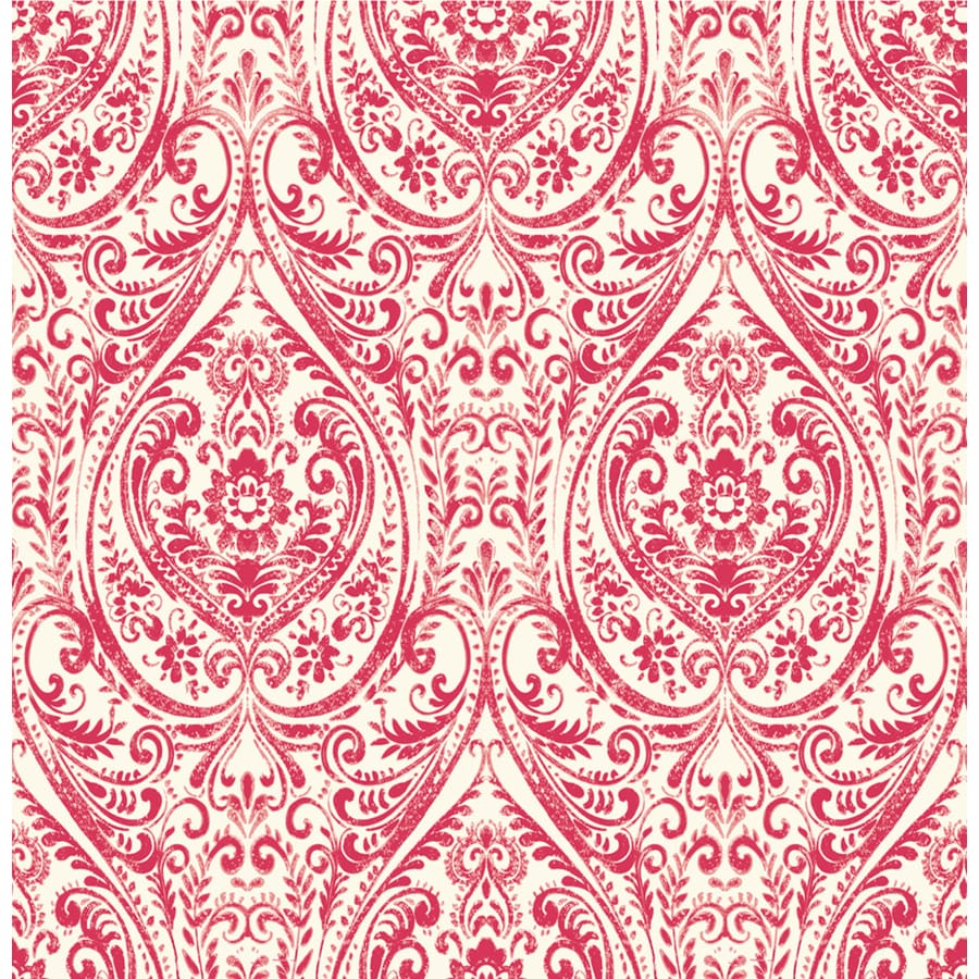 Brewster Wallcovering Kismet Red Non-Woven Damask Wallpaper