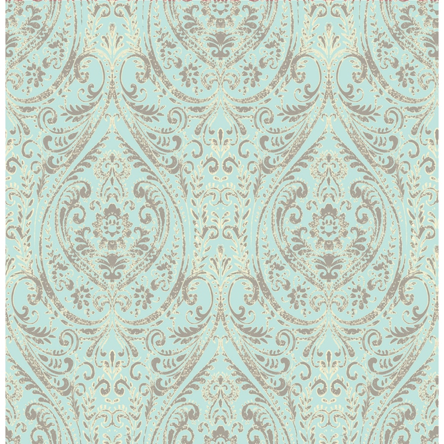 Brewster Wallcovering Kismet Turquoise Non-Woven Damask Wallpaper