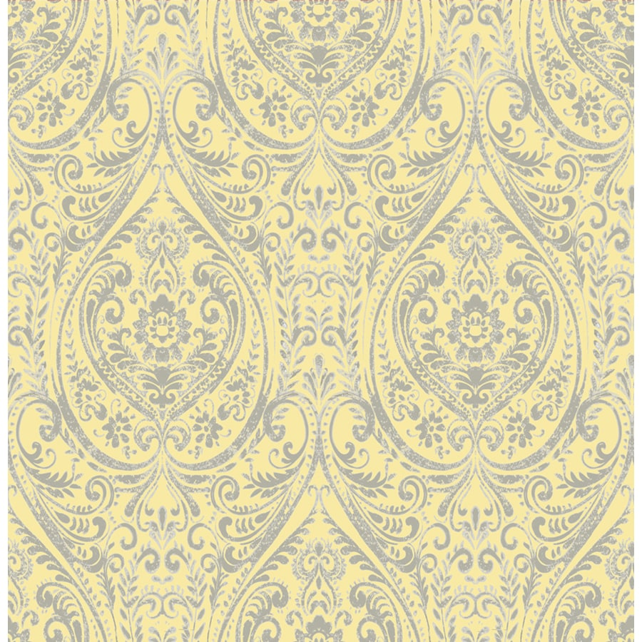 Brewster Wallcovering Kismet 56-sq ft Yellow Non-Woven Damask  Wallpaper