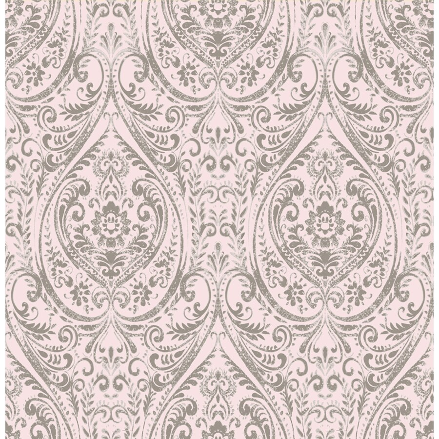Brewster Wallcovering Kismet Pink Non-Woven Damask Wallpaper
