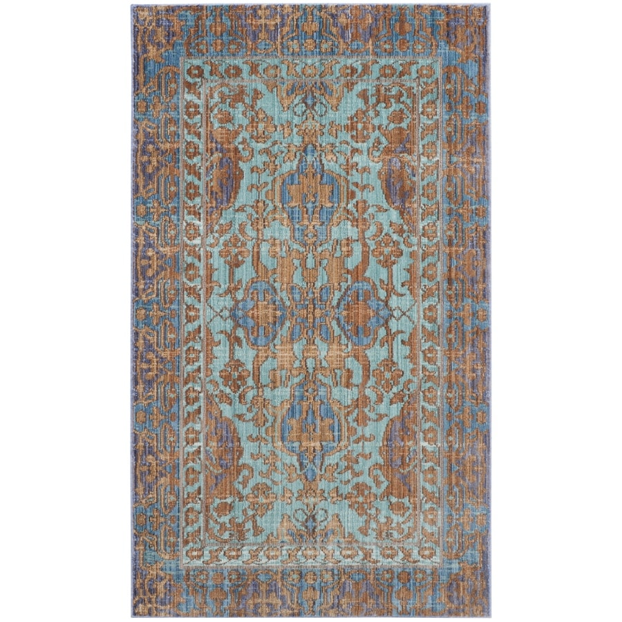 Safavieh Valencia Blue/Gold Rectangular Indoor Machine-Made Distressed Area Rug (Common: 4 x 6; Actual: 4-ft W x 6-ft L)