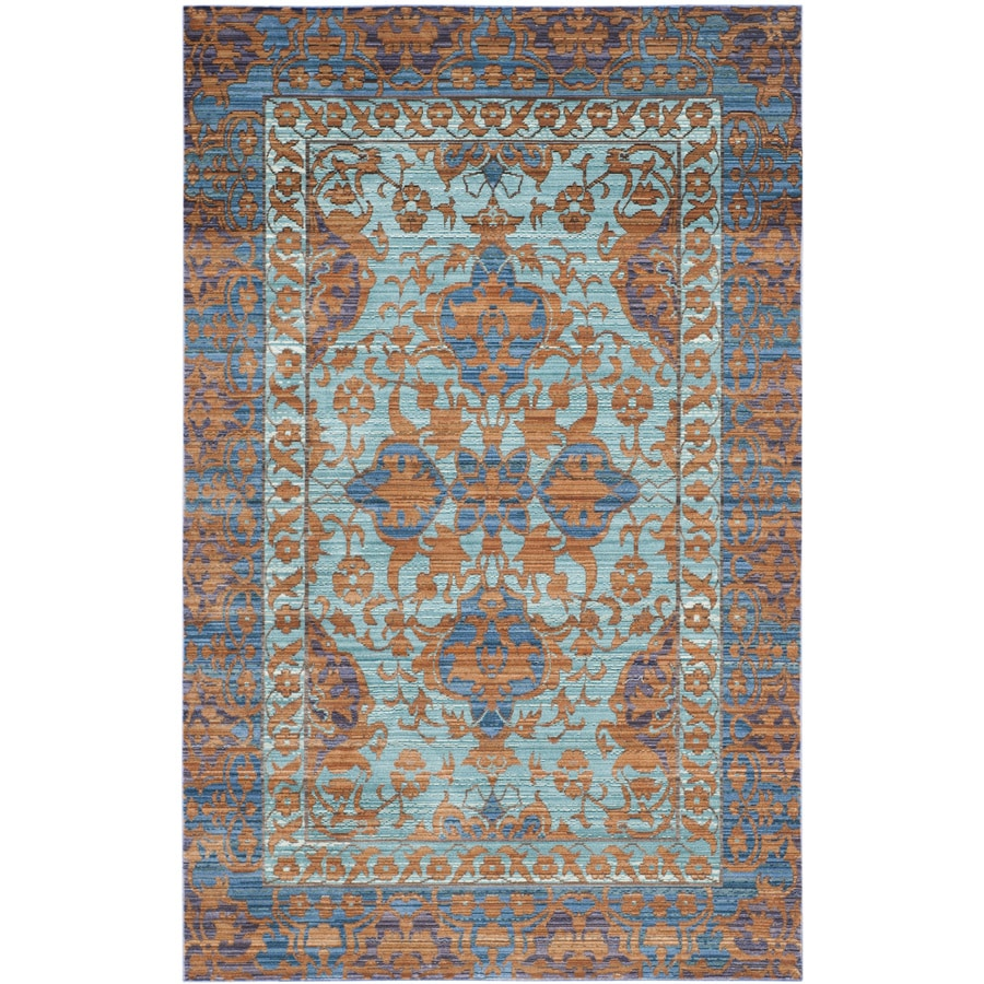 Safavieh Valencia Blue/Gold Rectangular Indoor Machine-Made Distressed Area Rug (Common: 5 x 8; Actual: 5-ft W x 8-ft L)