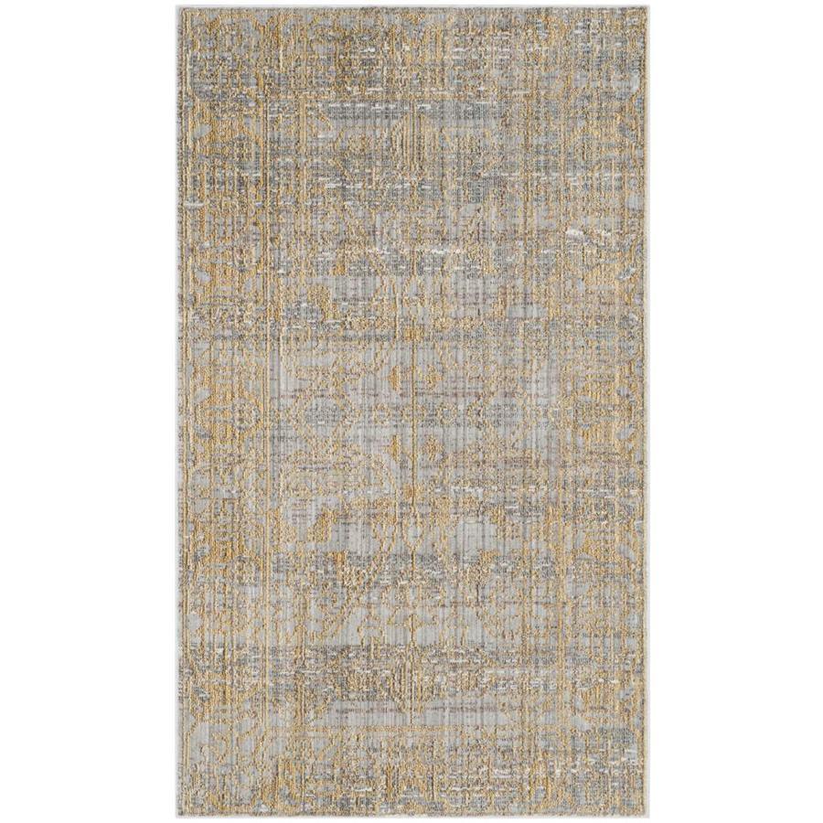 Safavieh Valencia Samara Gray/Gold Indoor Distressed Area Rug (Common: 4 x 6; Actual: 4-ft W x 6-ft L)