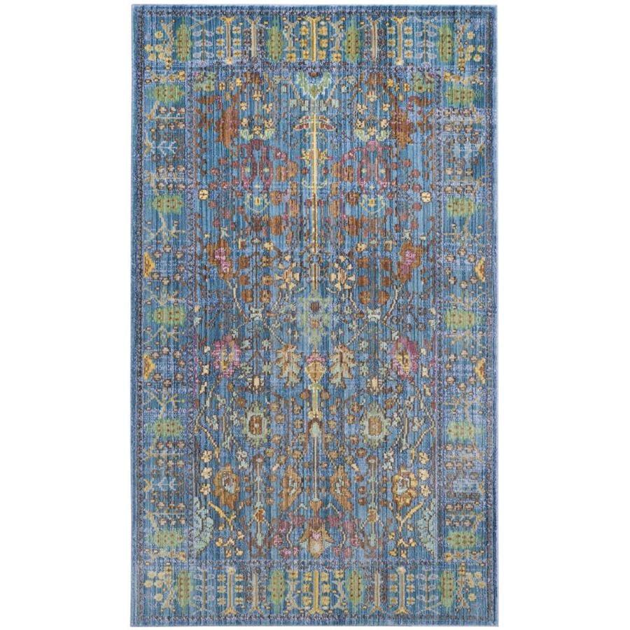 Safavieh Valencia Odessa Blue/Multi Rectangular Indoor Machine-made Distressed Area Rug (Common: 4 x 6; Actual: 4-ft W x 6-ft L)