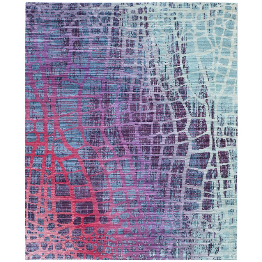 Safavieh Valencia Tami Blue/Fuchsia Rectangular Indoor Machine-made Distressed Area Rug (Common: 9 x 12; Actual: 9-ft W x 12-ft L)