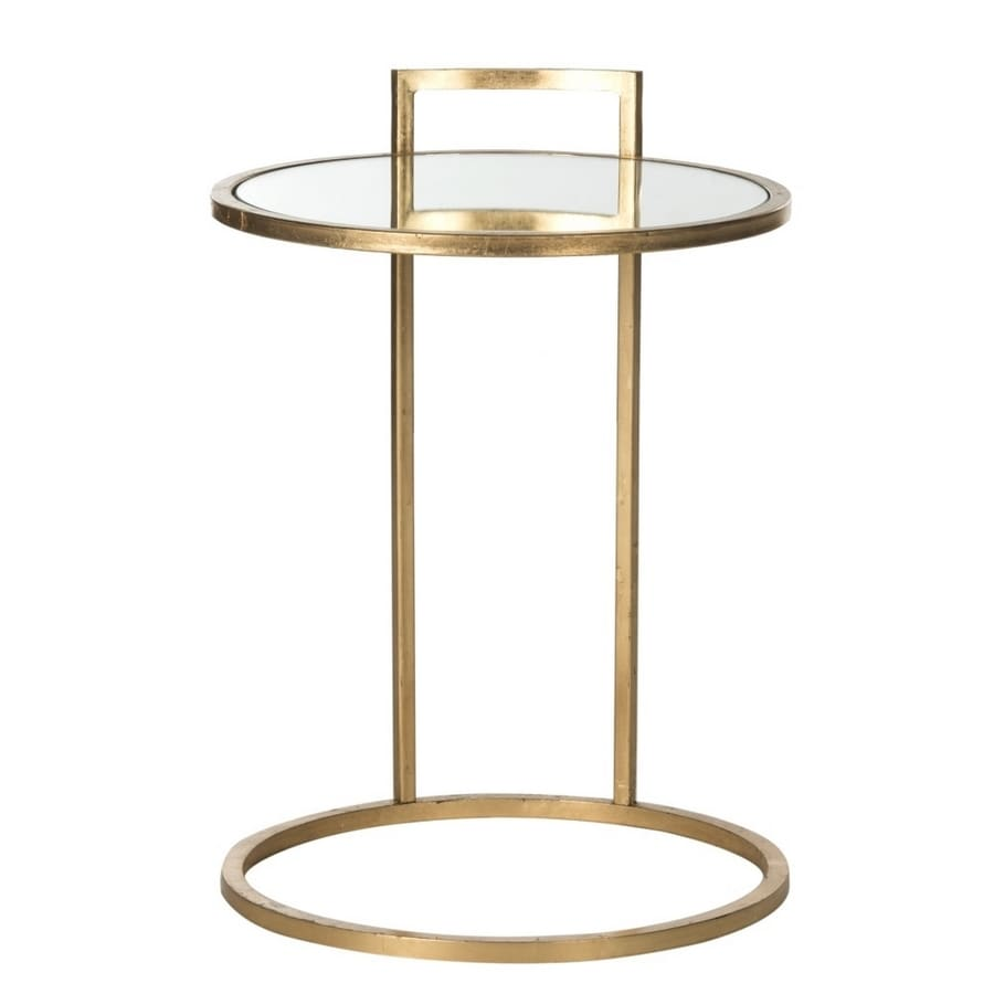 Madox Modern Classic Antique Gold Leaf Glass Coffee Table: Safavieh Calvin Antique Gold Leaf Glass Modern End Table