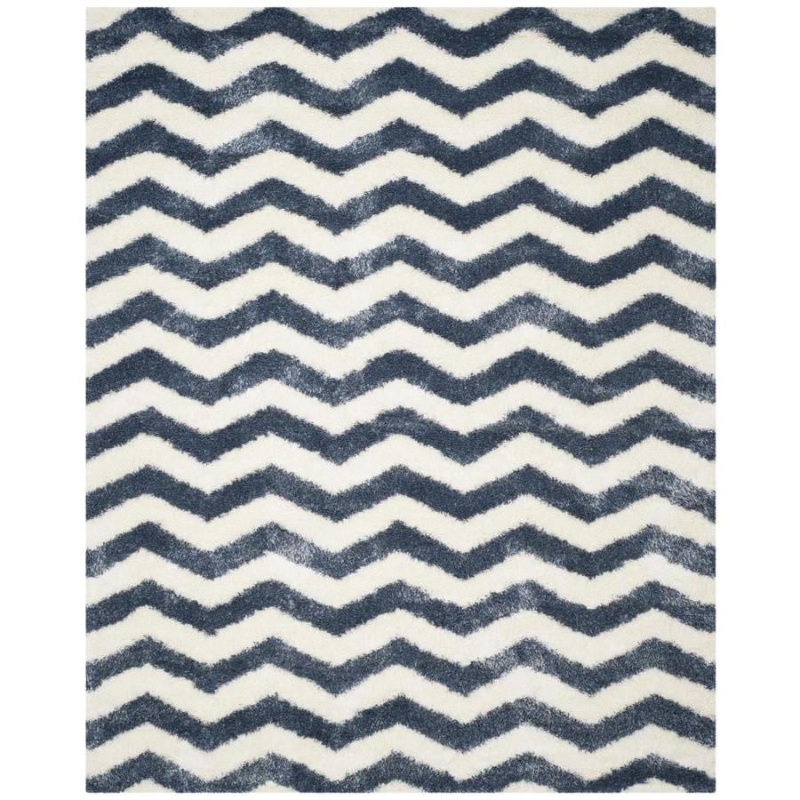 Safavieh Montreal Neuville Shag Ivory/Blue Rectangular Indoor Area Rug (Common: 7 x 10; Actual: 6.6-ft W x 9.5-ft L)