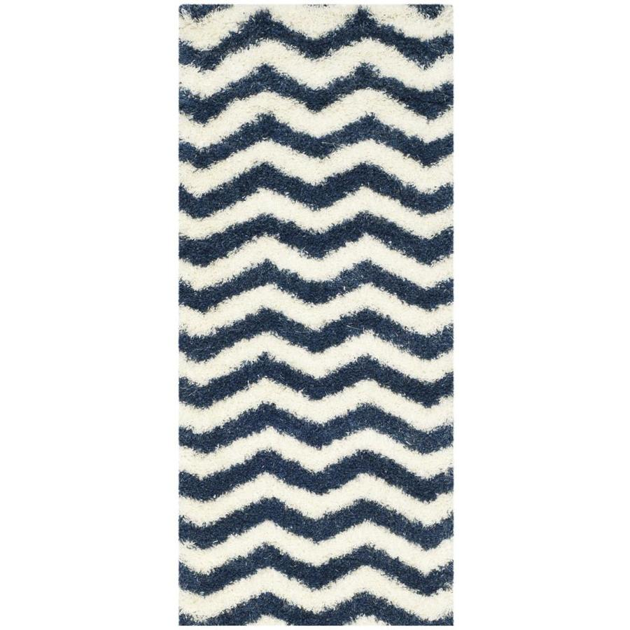 Safavieh Montreal Neuville Shag Ivory/Blue Indoor Runner (Common: 2 x 5; Actual: 2.3-ft W x 5-ft L)