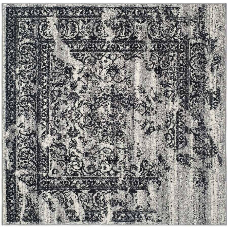 Safavieh Adirondack Silver/Black Square Indoor Machine-Made Lodge Area Rug (Common: 3.6 x 3.6; Actual: 4-ft W x 4-ft L)