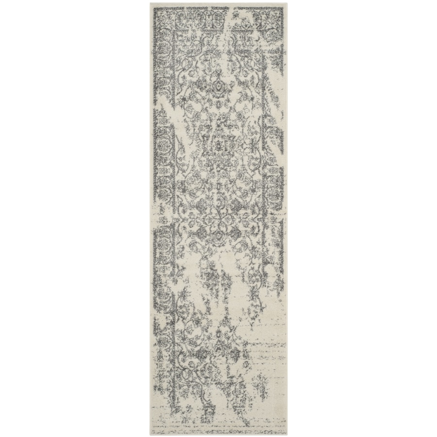 Safavieh Adirondack Plaza Ivory/Silver Rectangular Indoor Machine-made Lodge Runner (Common: 2 x 14; Actual: 2.5-ft W x 14-ft L)