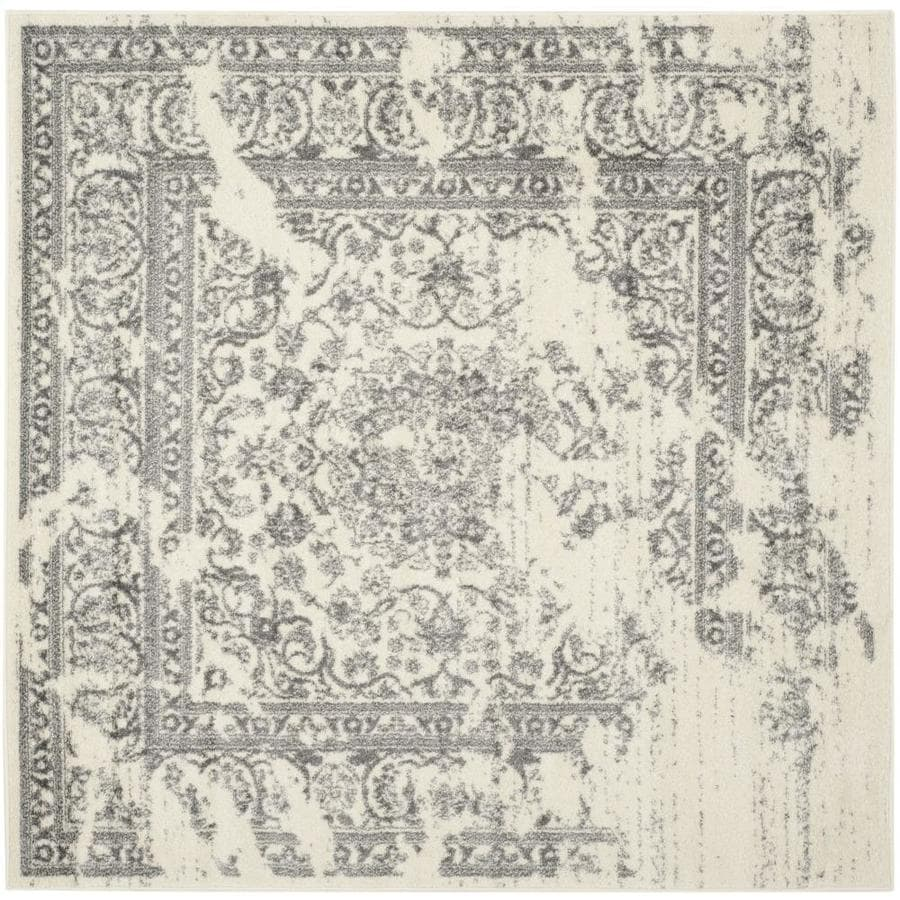 Safavieh Adirondack Plaza Ivory/Silver Square Indoor Machine-Made Lodge Area Rug (Common: 4 x 4; Actual: 4-ft W x 4-ft L)