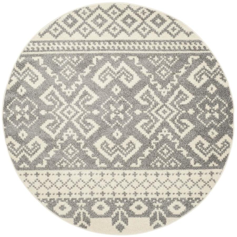Safavieh Adirondack Taos Ivory/Silver Round Indoor Lodge Area Rug (Common: 4 x 4; Actual: 4-ft W x 4-ft L x 4-ft dia)