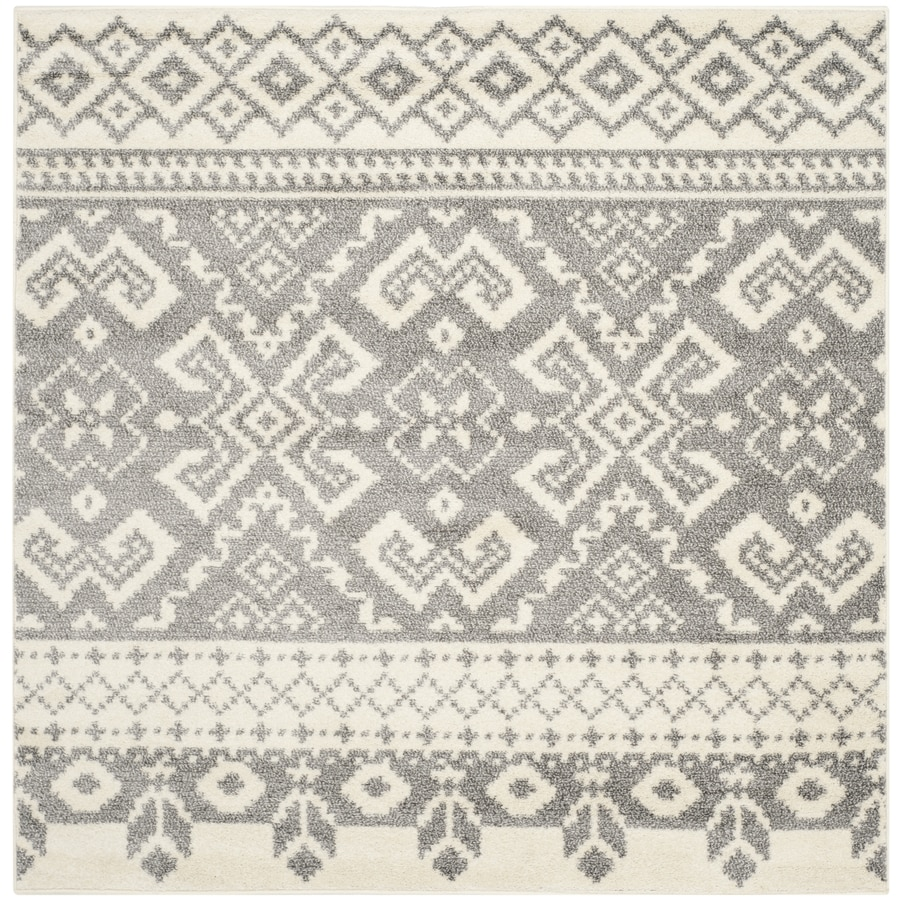 Safavieh Adirondack Taos Ivory/Silver Square Indoor Machine-made Lodge Area Rug (Common: 4 x 4; Actual: 4-ft W x 4-ft L)